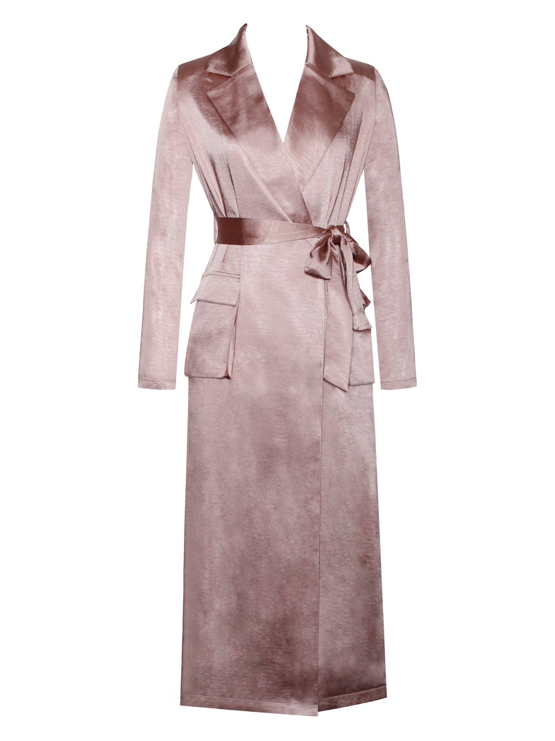 Say My Name Satin Trench With Belt