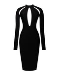 Qiana Black Keyhole Cut Out Long Sleeve Bandage Dress