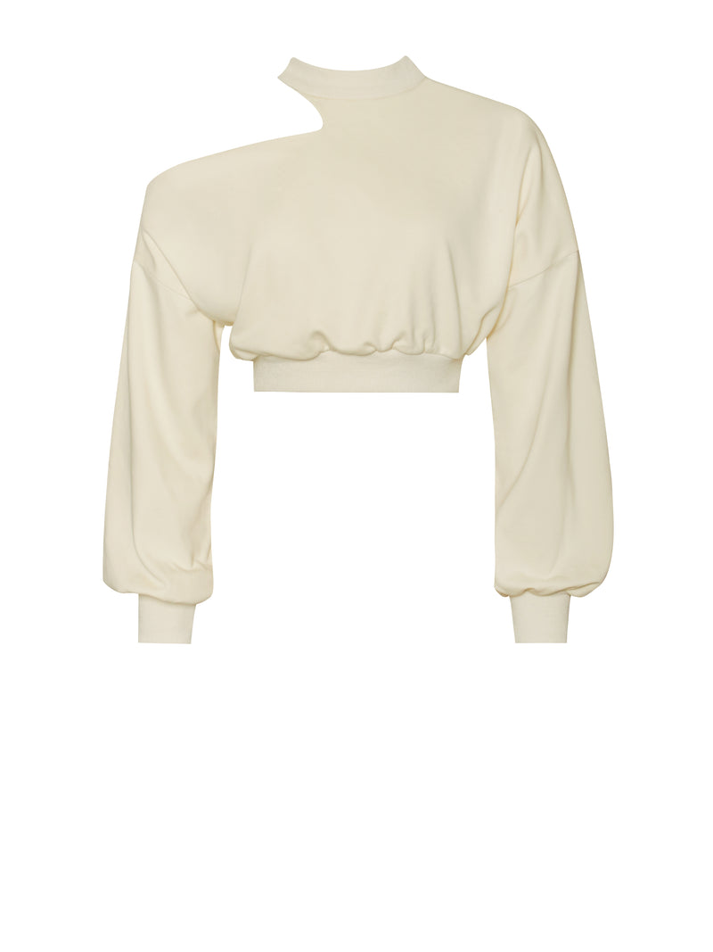 Callen Pale Yellow Shoulder Cutout Crop Sweatshirt