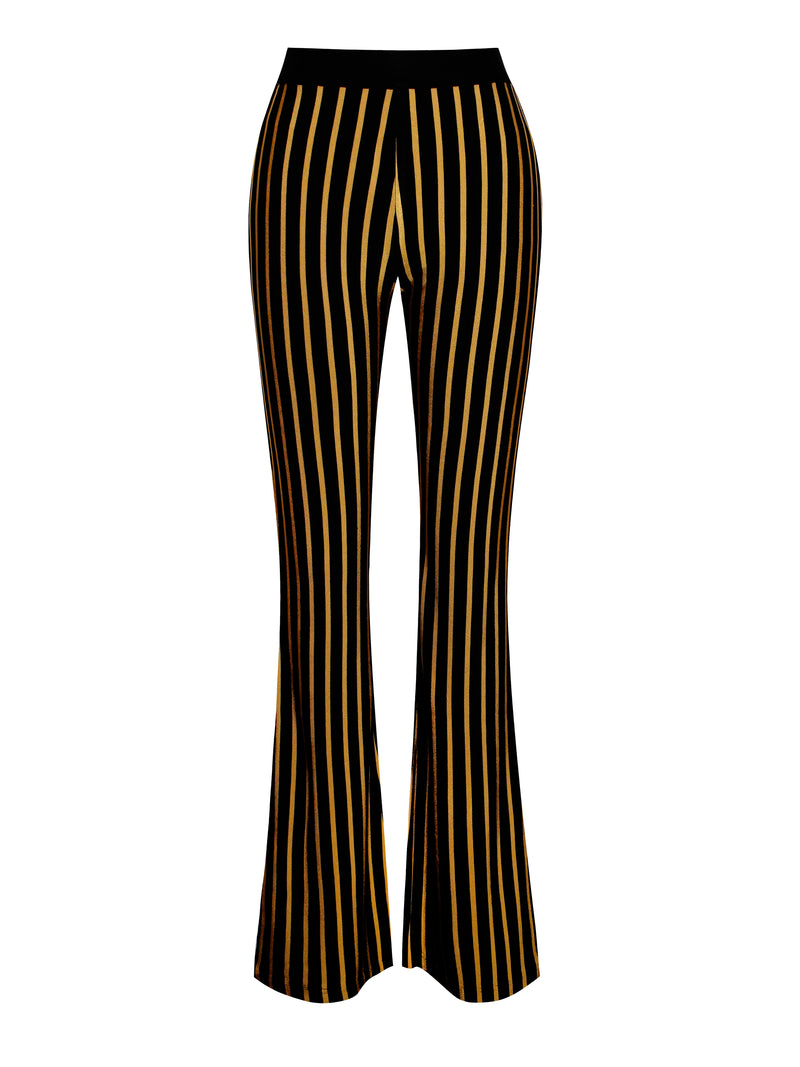 Kora Jacquard Gold Stripe Flared Bandage Pants - Miss Circle