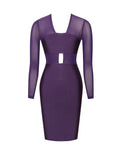 Savanah Mesh Long Sleeve Purple Cutout Bandage Dress