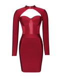Melrose High Neck Bustier Long Sleeve Bandage Dress