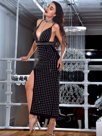 Belina Silver Studded High Slit Stretch Crepe Black Dress