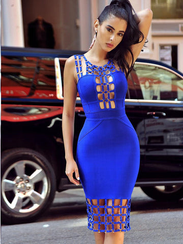 Marna Lattice Pattern Cutout Detail Bandage Dress