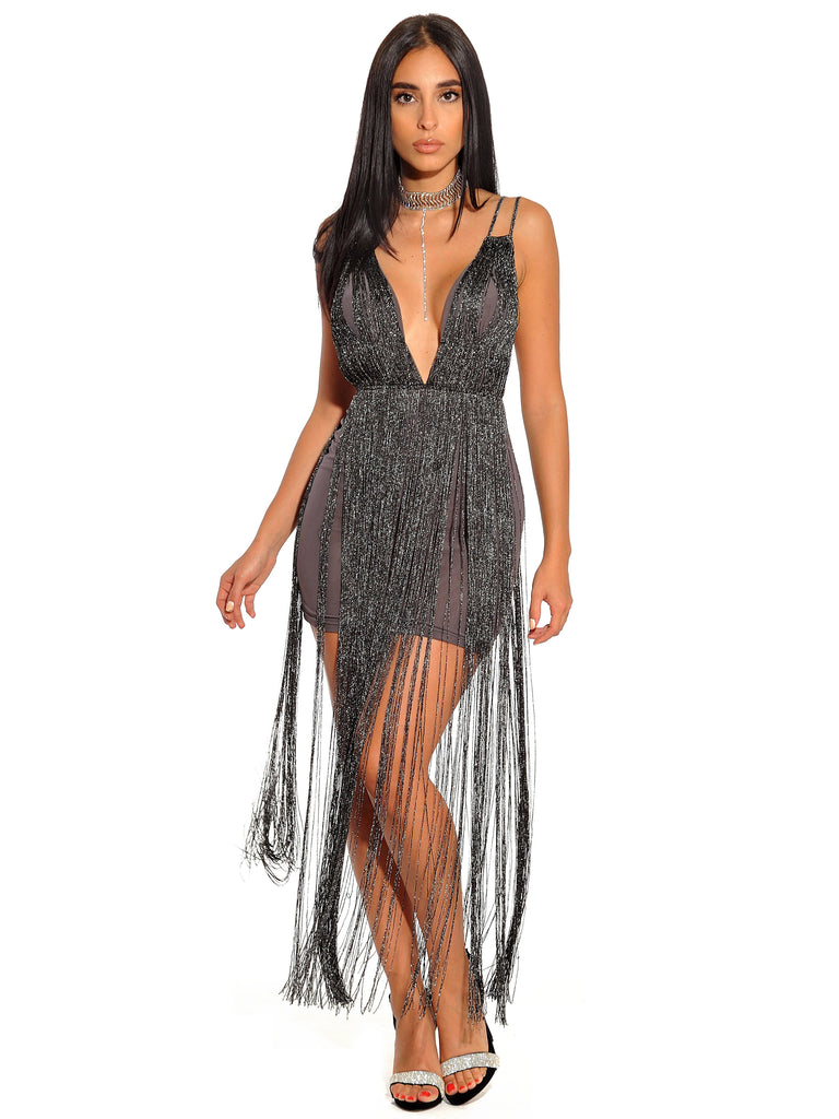 Giovanna Black Metallic Fringe Detail Dress