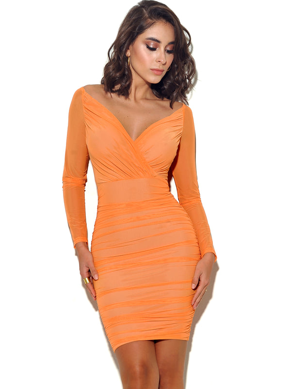 Give Me Love Mesh Wrap Off Shoulder Dress - Miss Circle