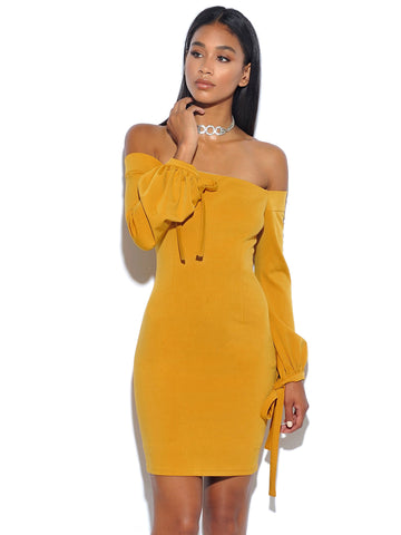 Paloma Golden Yellow Off The Shoulder Stretch Crepe Dress