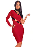 Irina Cut Out Detail Asymmetric One Shoulder Bandage Dress