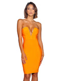 Kamryn Strapless Deep V Wired Bust Orange Bandage Dress