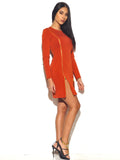 Goldie Zip Up Detail Long Sleeve Stretch Crepe Bodycon Dress