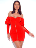 Ooh La La Red Puff and Lace Up Sleeve Stretch Crepe Dress