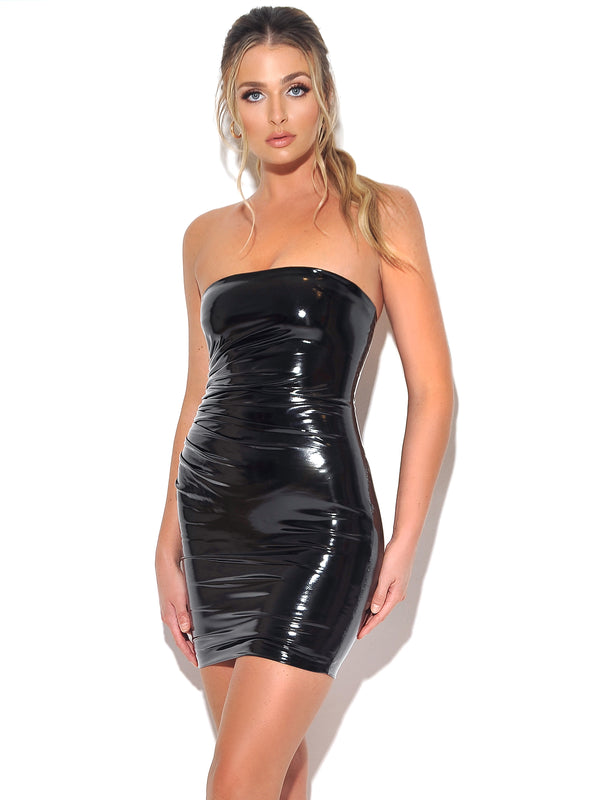 Nolita Black Vegan Leather Strapless Ruched Side Detail Dress