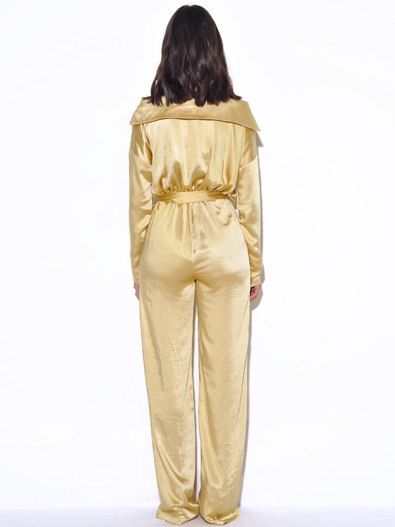 Symphony Off Shoulder Yellow Satin Jumpsuit - Miss Circle