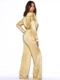Symphony Off Shoulder Yellow Satin Jumpsuit