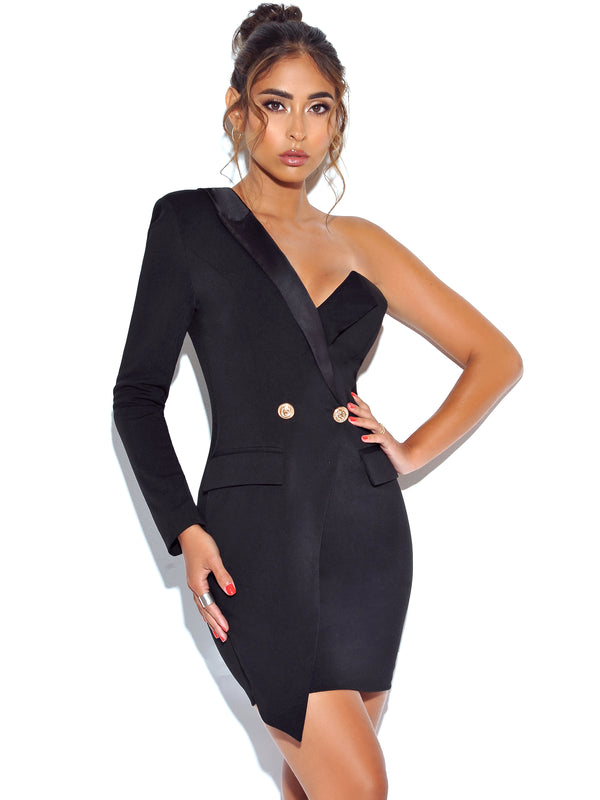 Keep One Up One Sleeved Black Crepe Tuxedo Blazer Dress - Miss Circle