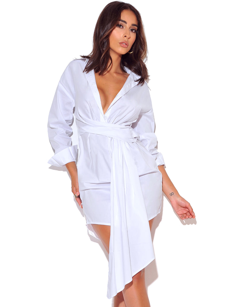 On My Mind White Draped Stretchy Boyfriend Shirt Dress - Miss Circle