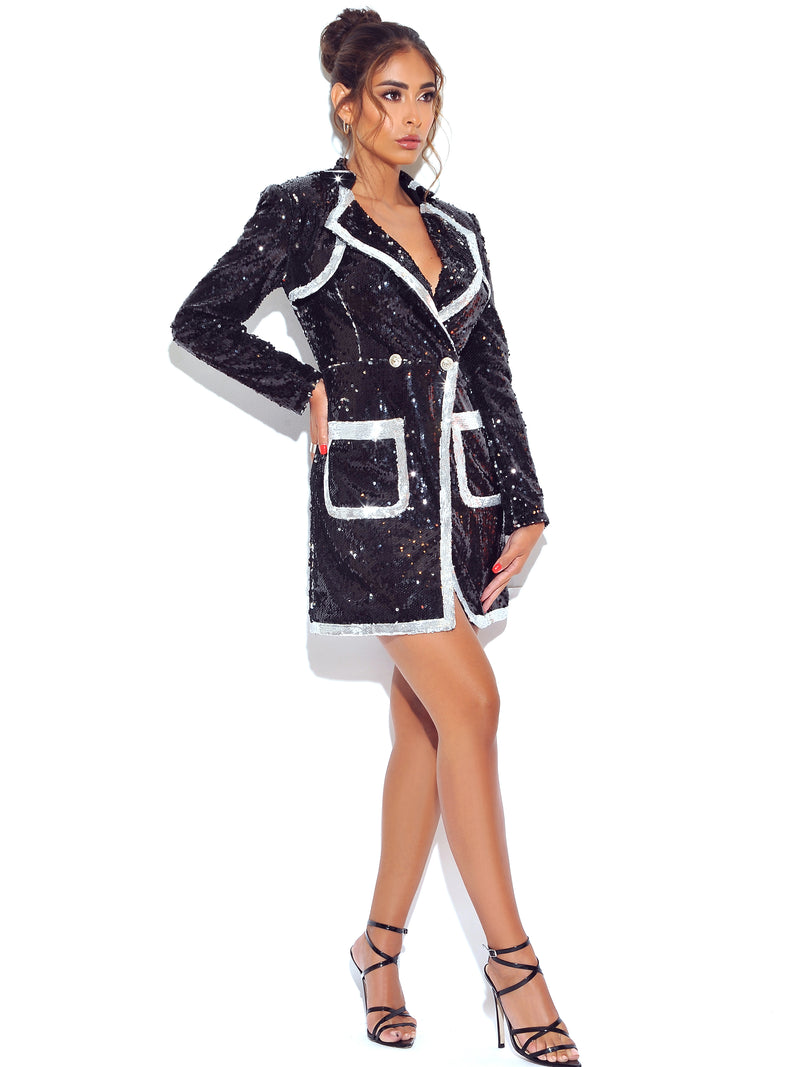 Piece Of Me Black Sequin Blazer Dress