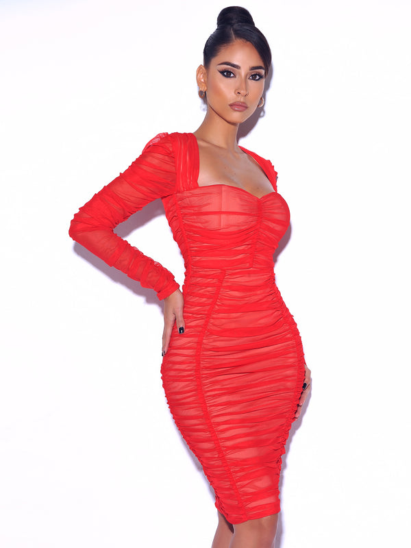 So Into You Red Chiffon Long Sleeve Ruched Dress
