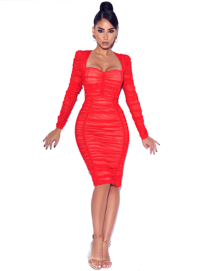 So Into You Red Chiffon Long Sleeve Ruched Dress - Miss Circle