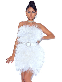 Adore You Strapless White Feather Dress (Pre-order In 3 Weeks) - Miss Circle