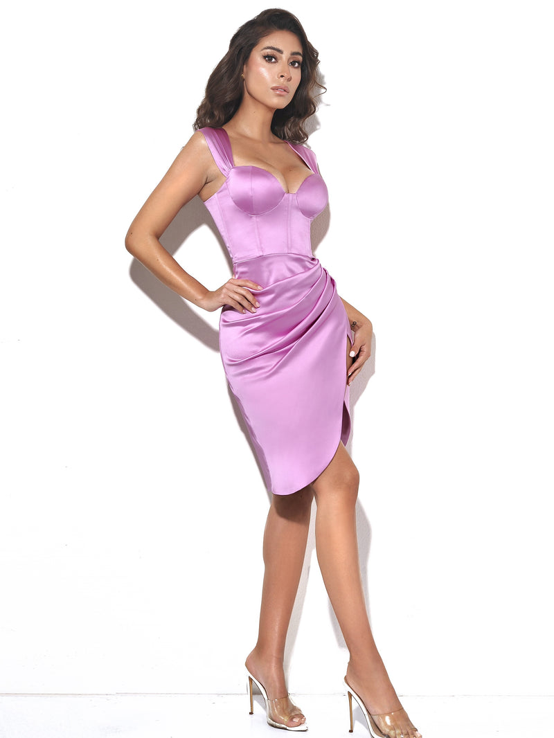 Hedy Light Orchid Satin Corset Dress