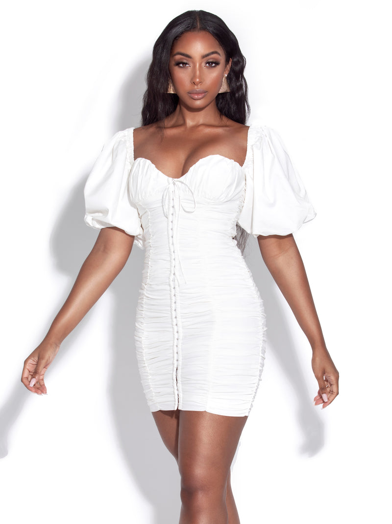 Halo White Puff Sleeve Ruched Corset Lace Up Dress