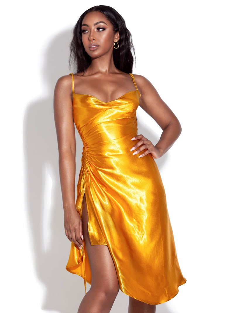 Montego Gold Satin Side Slit Dress