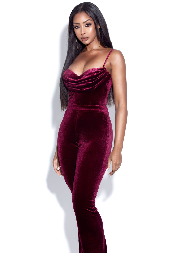 Samia Burgundy Velvet Jumpsuit With Crystal Detailed