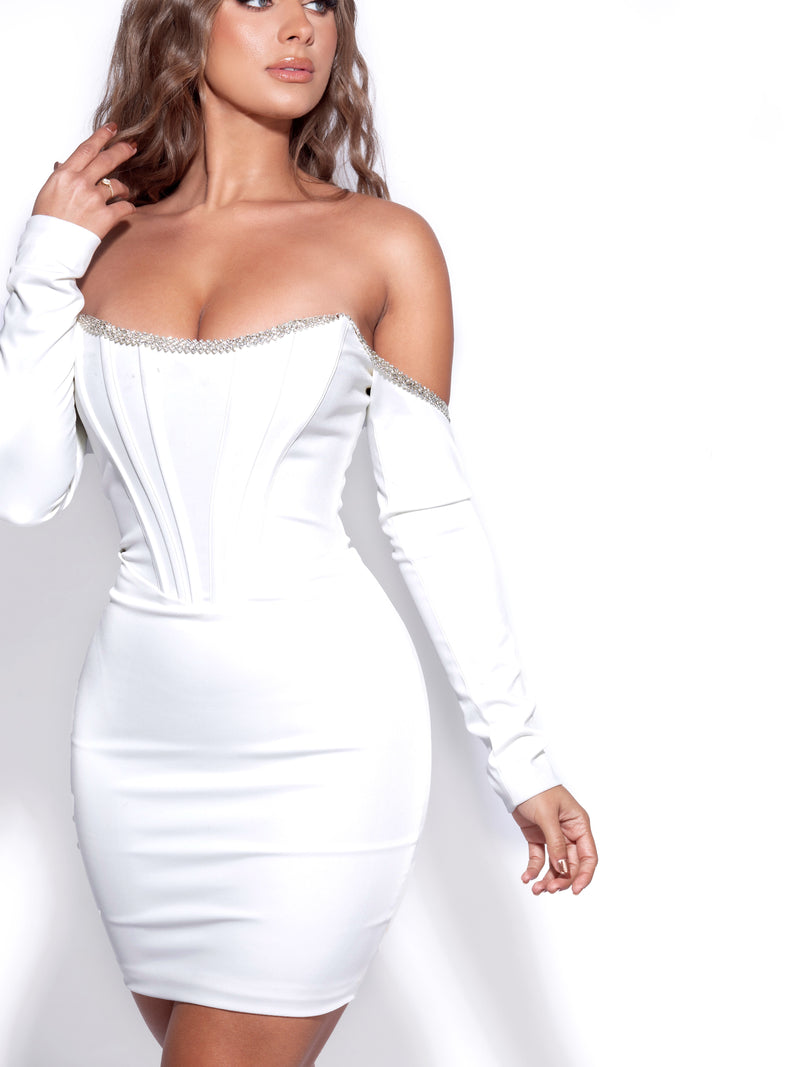 Annika White Off Shoulder Long Sleeve Corset Dress With Crystal Trim