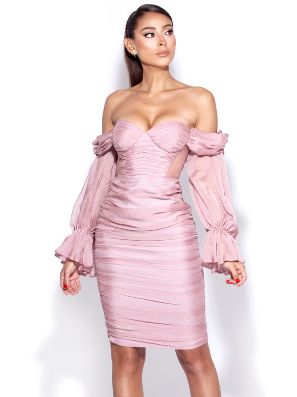 Sirene Blush Silk Pleated Off Shoulder Balloon Sleeves Dress