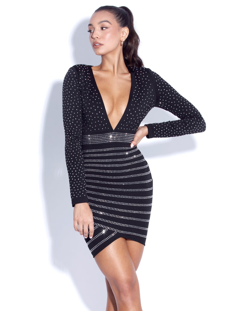 Naira Crystal Long Sleeve Deep V Dress