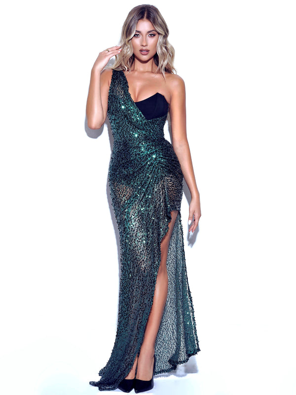 Umme Sequin Emerald Green Gown