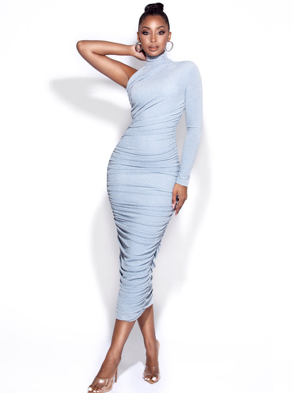 Peyton Blue One Sleeve Ruched Pencil Dress