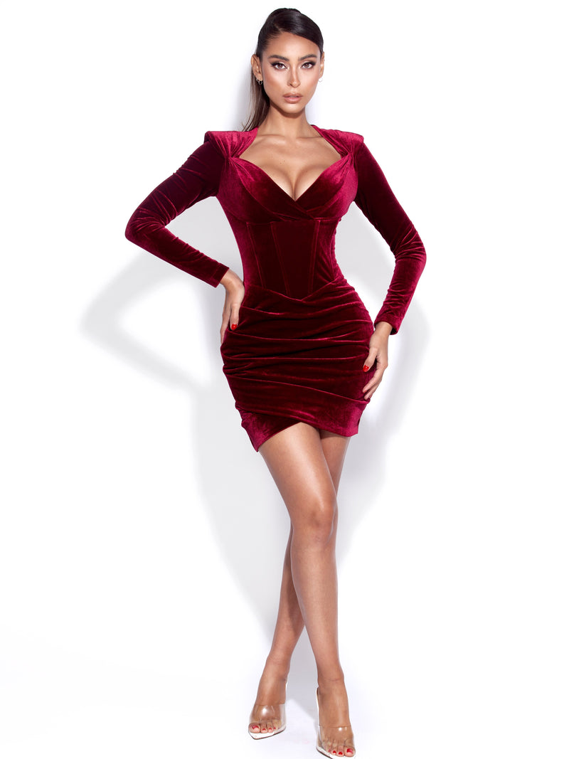 Tamara Burgundy Long Sleeve Corset Velvet Dress