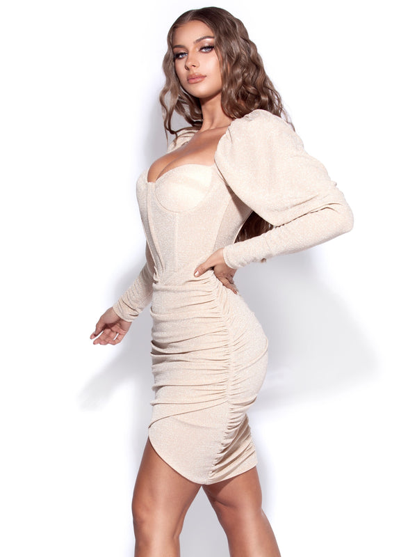 Evita Egg White Puff Sleeve Ruched Corset Dress