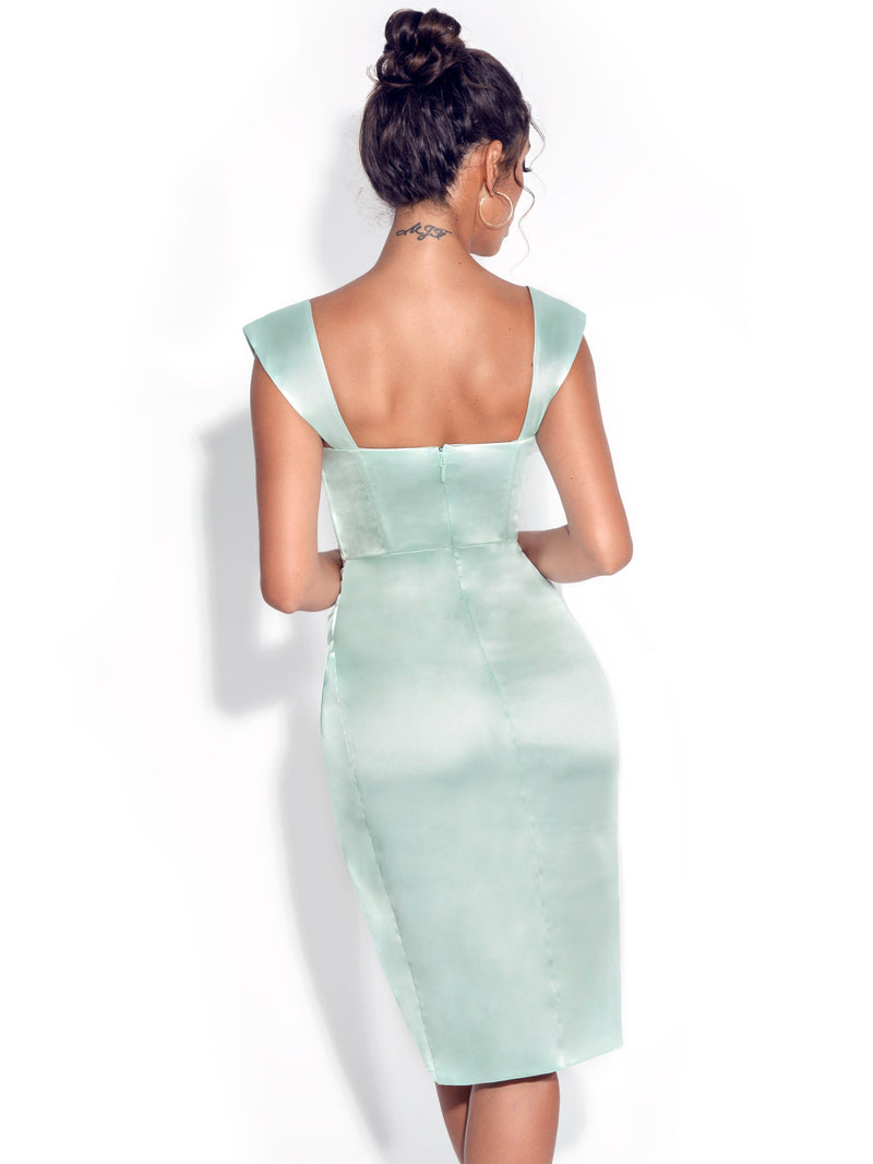 Hedy Mint Satin Corset Dress