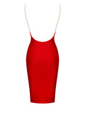 Yolanda Backless Gold Chain Strap Red Bandage Dress