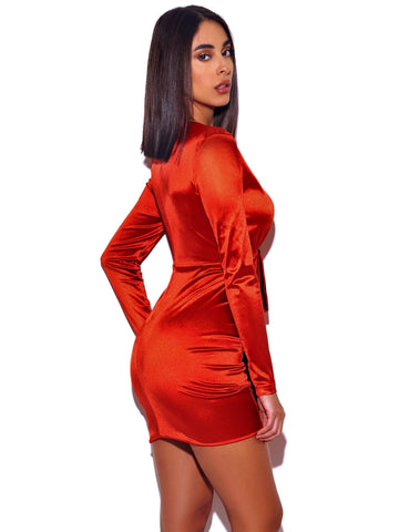 Tatiana Deep Red V Square Shoulder Stretch Satin Long Sleeve Mini dress