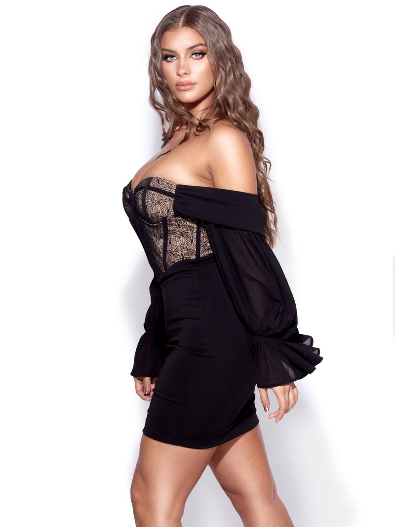 Nessa Black Lace Corset Off Shoulder Dress