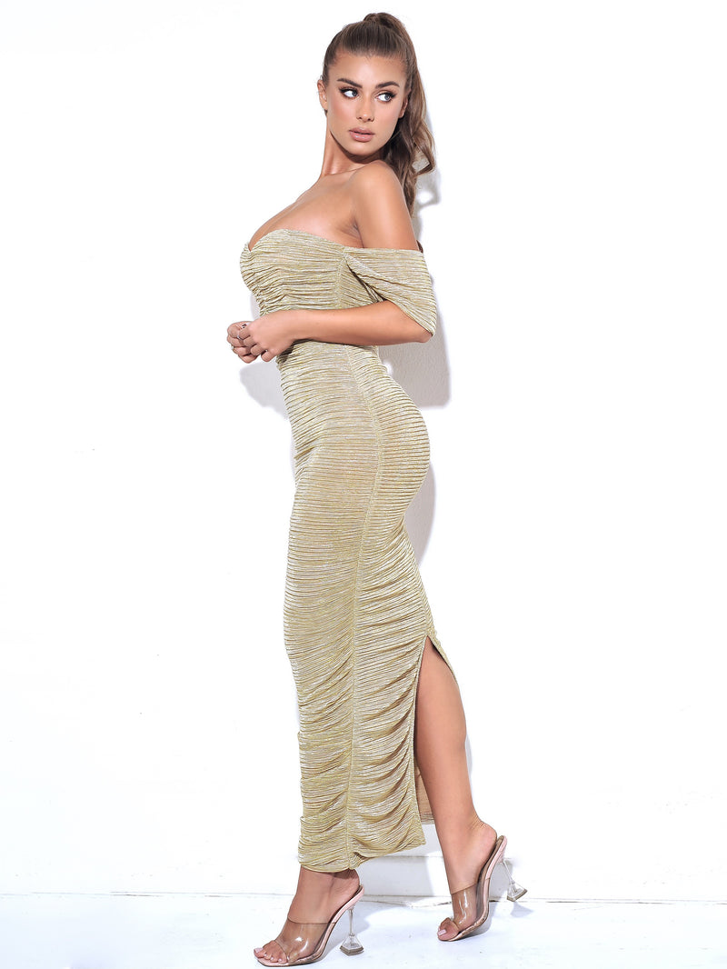 Gene Gold Ruched Off Shoulder Chiffon Dress