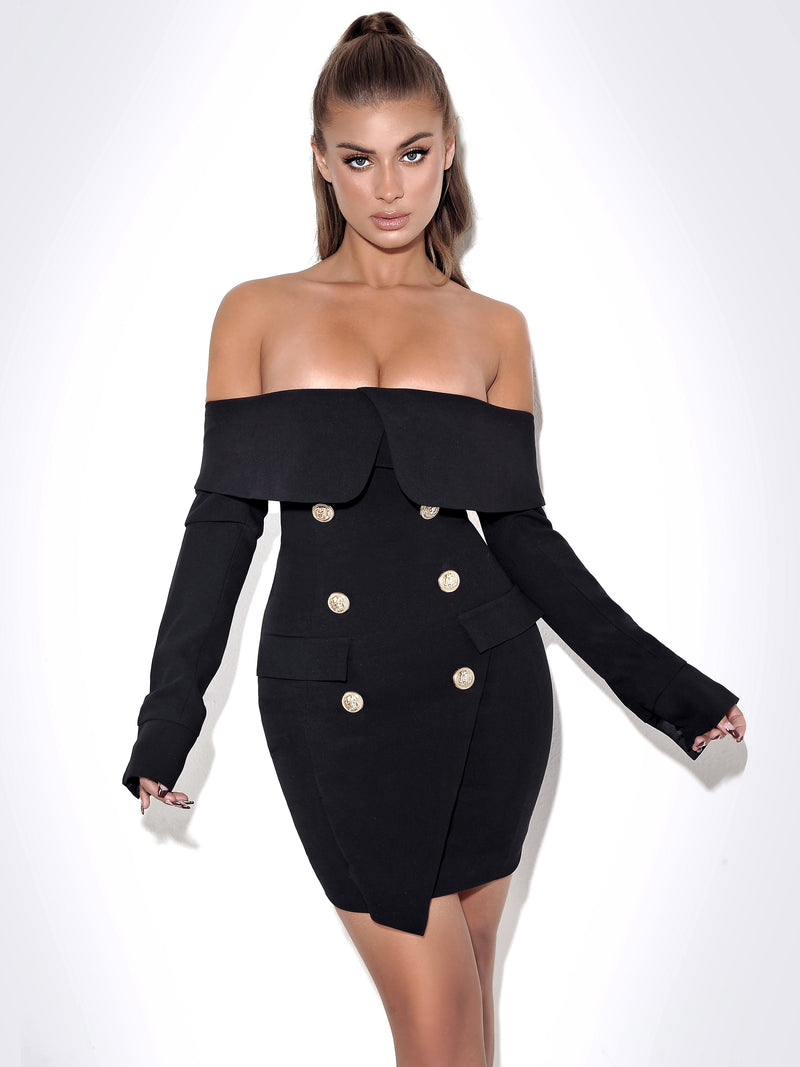 Katalina Black Off Shoulder Long Sleeve Dress