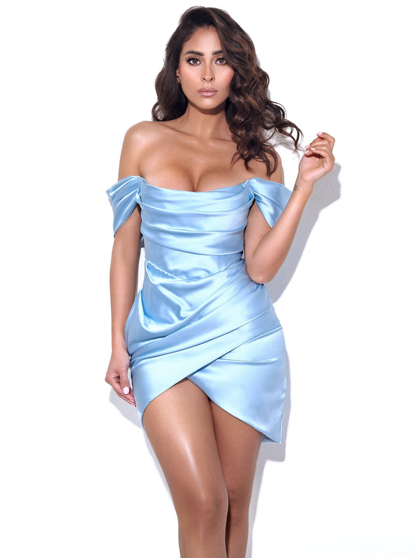 Zori Baby Blue Off Shoulder Satin Corset Dress