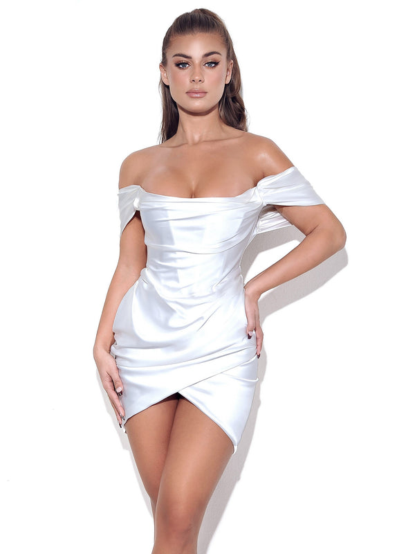 Zori White Off Shoulder Satin Corset Dress