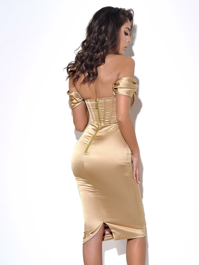 Jasmine Gold Off Shoulder Corset Satin Dress
