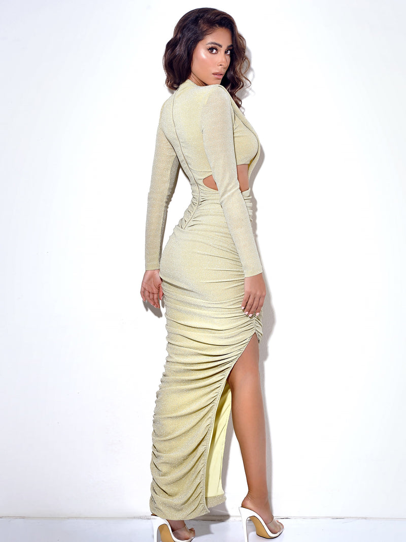 Payson Pale Yellow Long Sleeve Metallic Jersey Cutout Dress