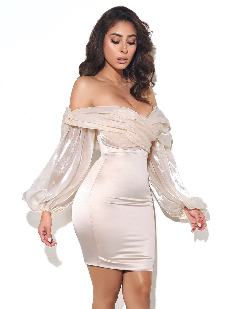 Jacey Beige Off Shoulder Balloon Sleeve Dress