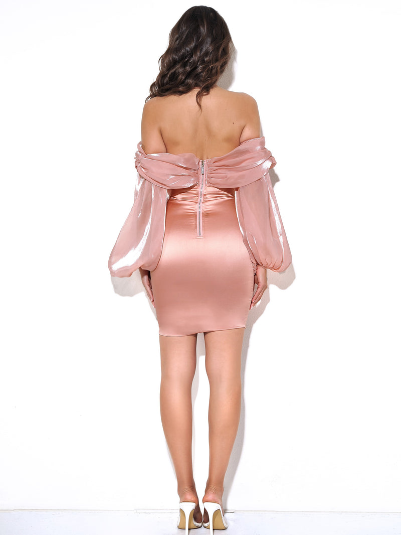 Jacey Peach Off Shoulder Balloon Sleeve Dress