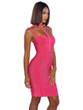 Ava Dark Pink High Neck Cut Out Gold Button Detail Bandage Dress