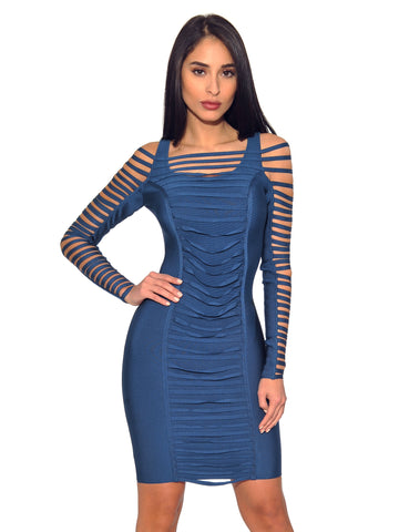 Zola Ruched Detail Cut Out Sleeve Bandage Dress