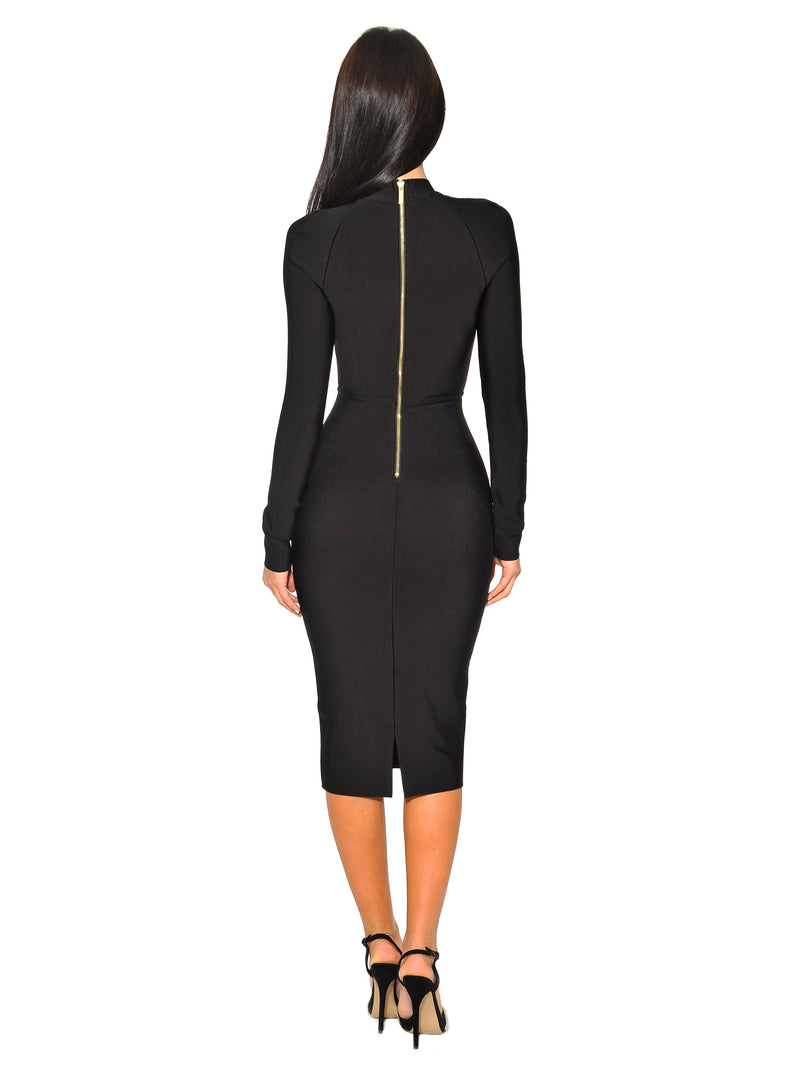 Qiana Black Keyhole Cut Out Long Sleeve Bandage Dress - Miss Circle